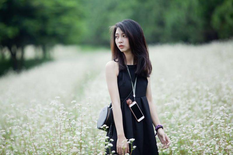 hình ảnh cô gái đang tự tin chụp hình trên cánh đồng hoa ở Đà Lạt Milk Farm