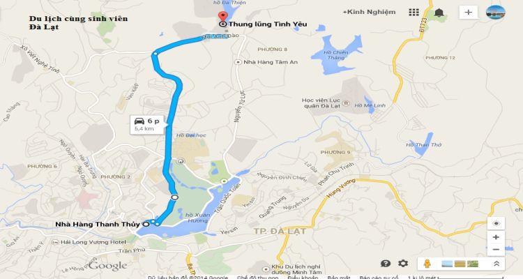 Bản đồ đường đi thung lũng tình yêu