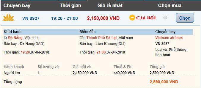 Vé máy bay Đà Nẵng đi Đà Lạt
