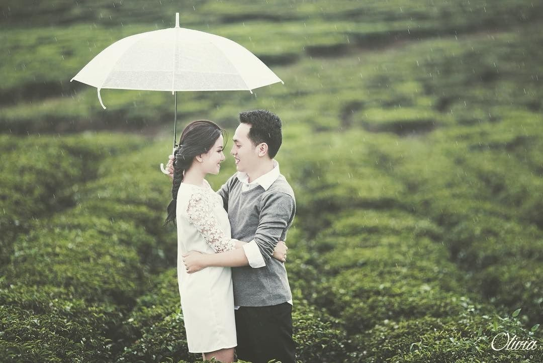 hình ảnh hai bạn trẽ đăng hạnh phúc bên nhau với những cây chè xanh mướt ở đồi chè Cầu Đất