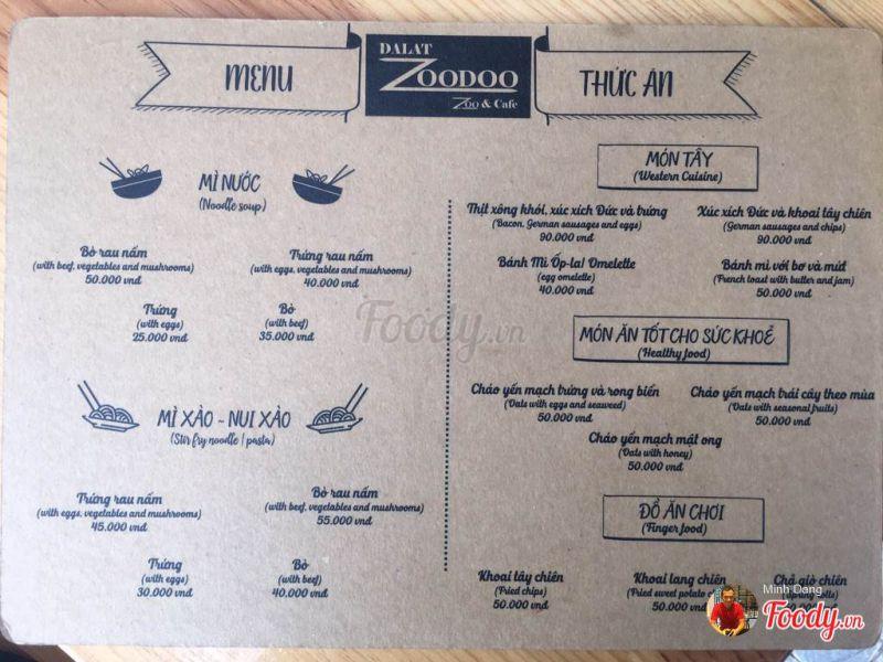 thực đơn ăn trưa tại zoodoo