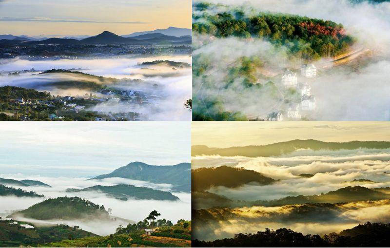 sương mù khi leo lên đỉnh núi LangBiang