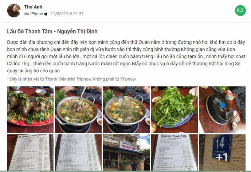 Một vài đánh giá của thực khách về món lẩu bò Thanh Tâm ở Đà Lạt