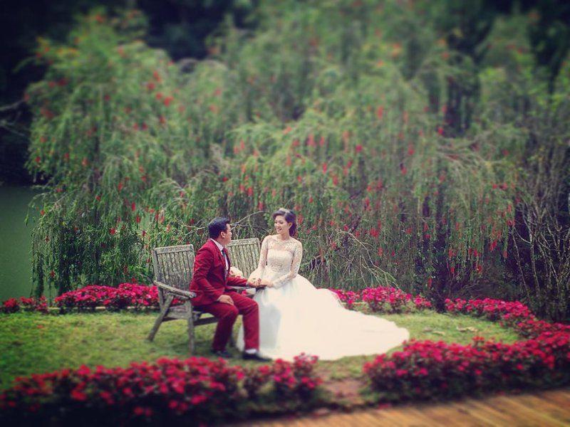 Khu biệt thự giao hưởng xanh là một nơi lý tưởng để chụp ảnh cưới đẹp