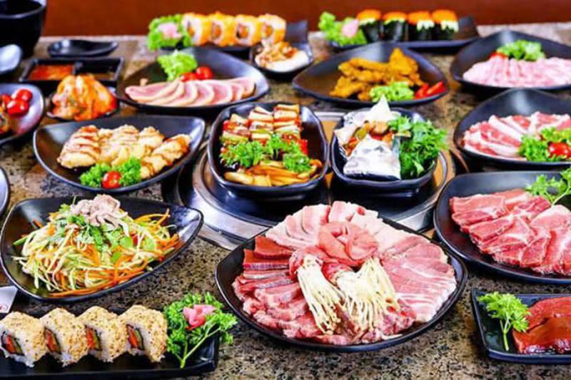 Đồ ăn tại quán Buffet nướng 2 Đô 98k ở tp Đà Lạt