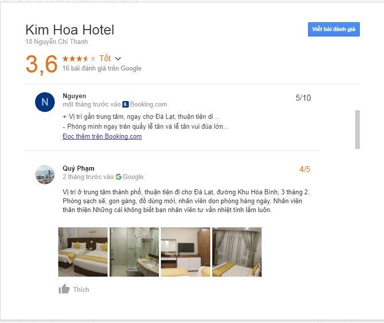 Một đánh giá của khách hàng về khách sạn Kim Hòa ở tp Đà Lạt