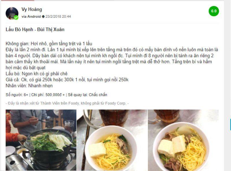 Một vài đánh giá của thực khách về món lẩu bò Hạnh
