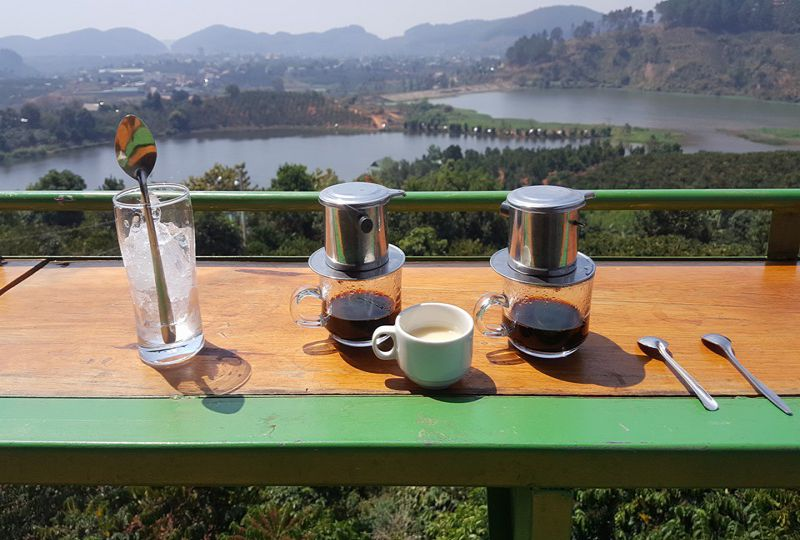Panoramic view from Me Linh coffee - 3 waterfalls tour in dalat