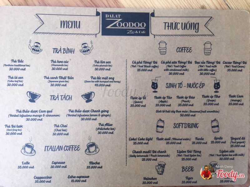 Menu cafe - Dalat zoodoo tour
