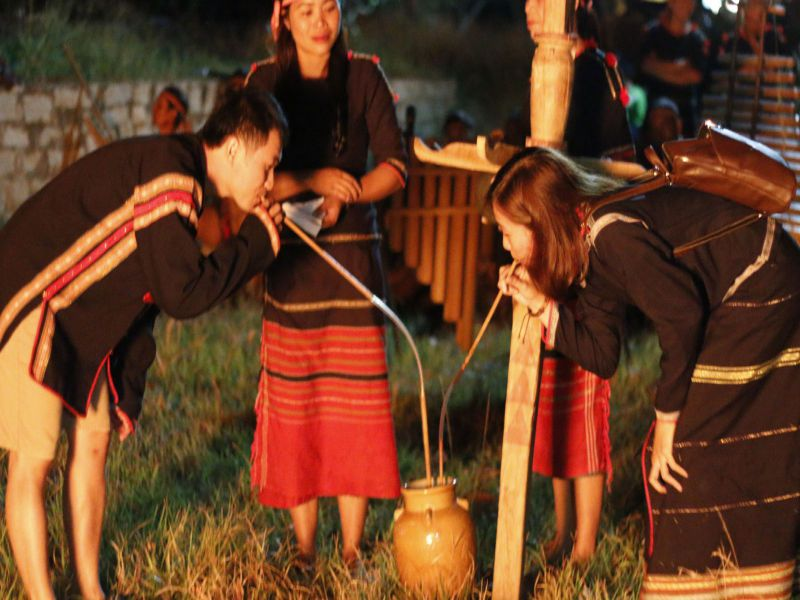 Drinking wine with fellow Highlanders - Dalat gong tour