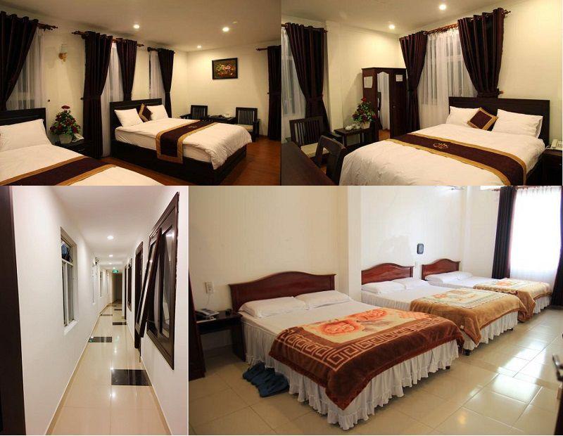 Phòng ngủ bên trong khách sạn Tâm Dung 1 ở Đà Lạt