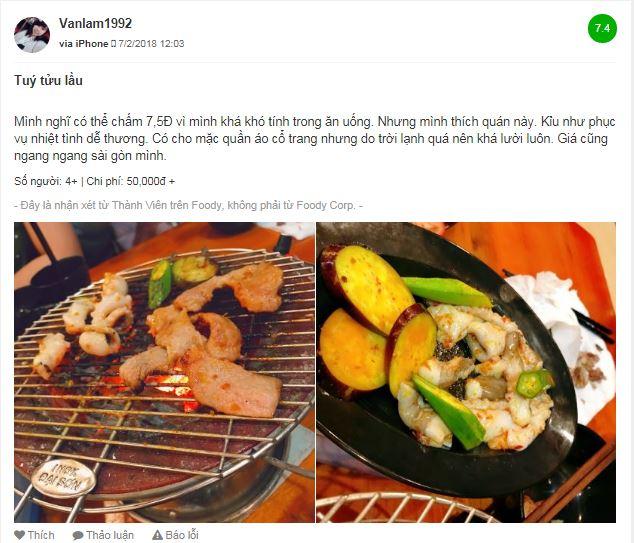 Một vài đánh giá trên Foody về quán Túy Tửu Lầu ở Đà Lạt