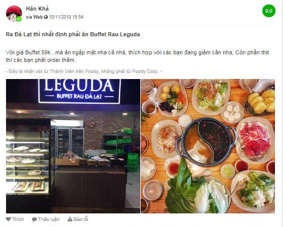 Nhiều review cho nhà hàng buffet rau LÉGUDA