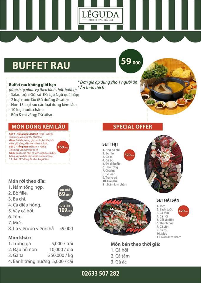 Thực đơn buffet lẩu rau tại nhà hàng LÉGUDA Đà Lạt