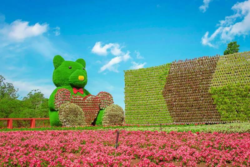 Chú gấu Teddy bằng hoa tại Fresh Garden ở Đà Lạt