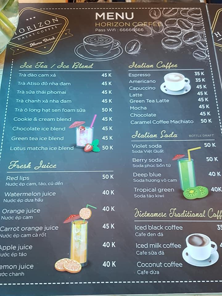 Menu tại Horizon coffee