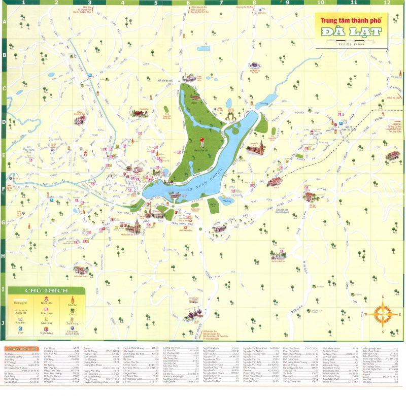 Bản đồ các điểm đến du lịch Đà Lạt