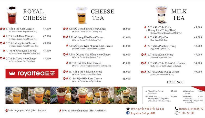 Menu Trà sữa Royal Tea Đà Lạt