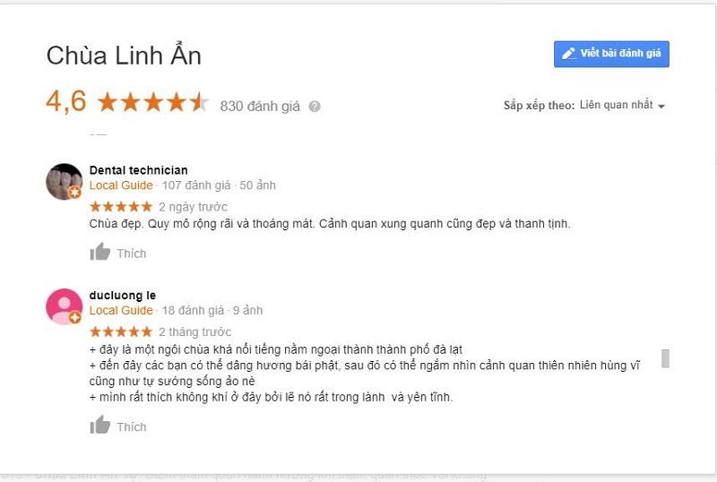 Một số đánh giá về chùa linh ẩn đà lạt trên google search