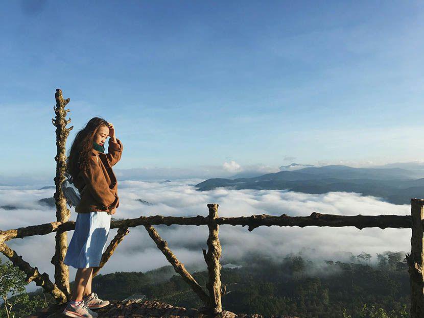 Cầu gỗ săn mây ở đồi chè Cầu Đất Đà Lạt