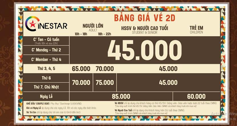 Giá vé Cinestar Đà Lạt