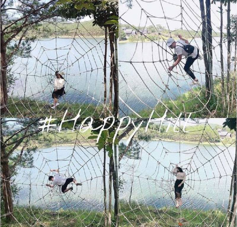 mạng nhện khổng lồ ở khu du lịch Happy Hill Đà Lạt