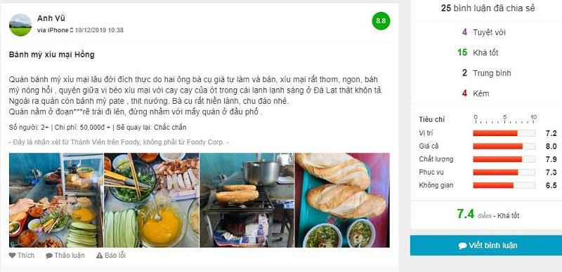 Đánh giá bánh mì xíu mại co Hồng Đà Lạt trên Foody
