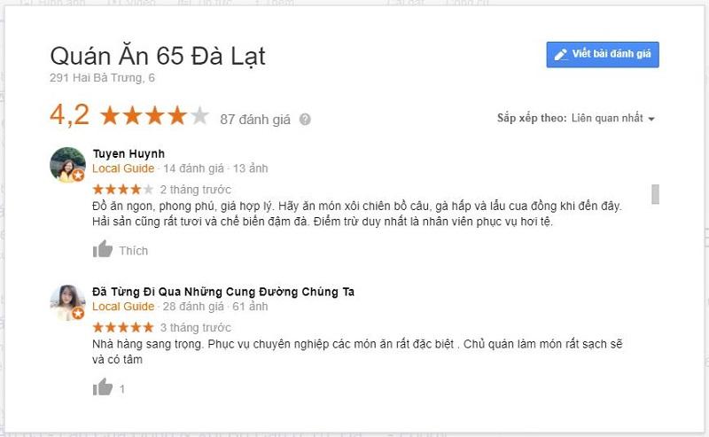 Review quán 65 Hai Bà Trưng Đà Lạt