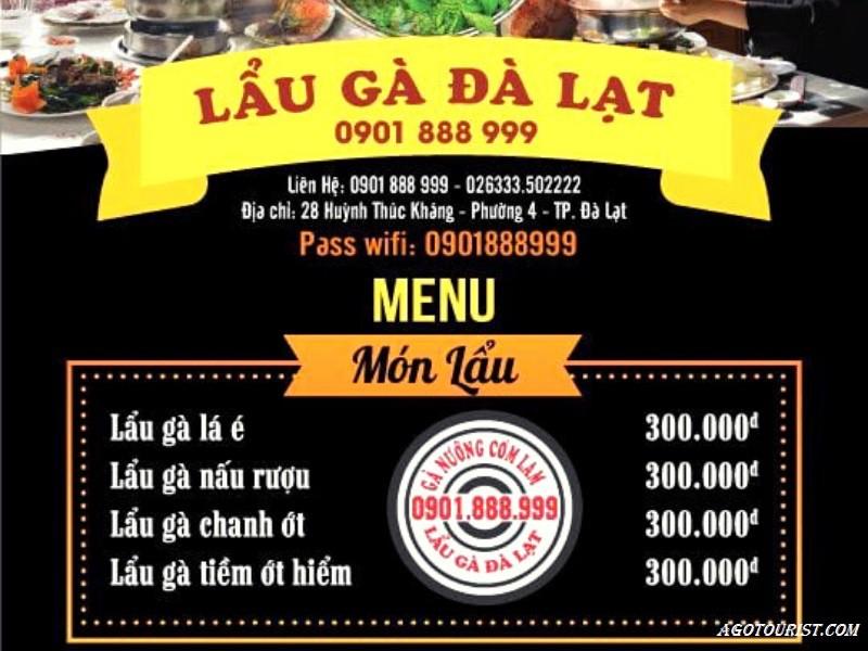 menu quán lẩu gà Đà Lạt 0901888999