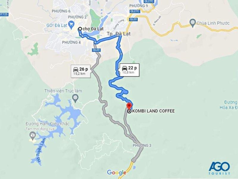 Đường đi Kombi Land Coffee Đà Lạt